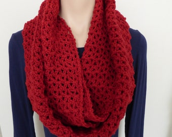 CrochetedRed Infinity Scarf Made with 100% Certified Organic Merino Wool