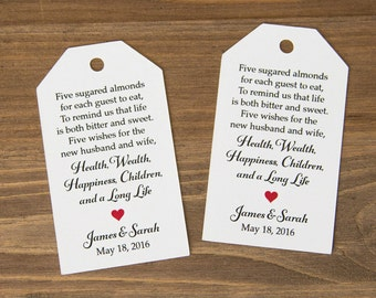 Jordan Almonds Favor Tag - Dragee - Wedding Favor Tag - Almond Wedding Favors - Wedding Favor Labels - Wedding Gifts - 36 Pieces