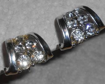 Vintage CORO Silver Tone Clear Rhinestone Clip On Earrings