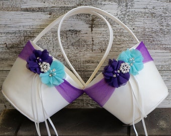 Your Color ,Two Flower Girl Baskets ,Purple and Aqua Blue Flower Girl Wedding Basket  ,Wedding Basket , Flower Girl Basket