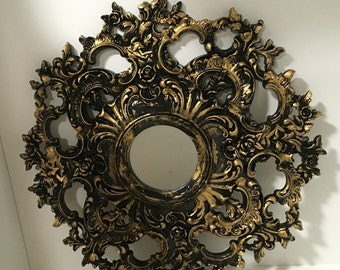 Syroco Wood 1940s Black & Gold Ornate with Small Center Mirror