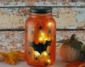 Halloween bat and spider lantern, orange and black. handpainted
