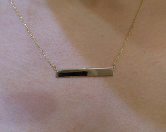 Bar Necklace 14k Yellow Gold/ Yellow Gold 14k Bar Necklace/ Layering Necklace