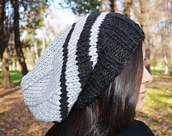 Slouchy beanie hat - BLACK & PEARL Grey - womens teen girls - accessories - Wool Woolen - slouch