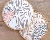 Fox and Bear Embroidery Hoop Art Pattern PDF - Woodland Animals Hand Embroidery