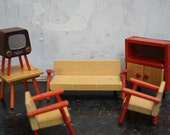 Dollhouse furniture livingroom, sofa, chairs, TV and cabinet