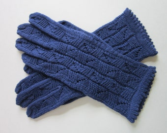 Wool Lace Blue Gloves for Womens  Hand Knit Womens Gloves