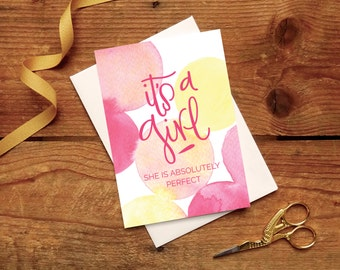 New Baby Card: It's a Girl! // Traditional New Baby Girl Celebration Card In Pinks And Yellows.