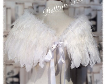 Bridal Angel White Feather Fully lined Cape Capelet Wrap Victorian Bridal