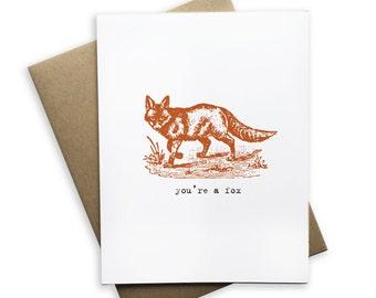 You're a Fox card, blank card, fox, greeting card, folded card