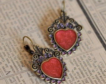 Antique style heart shaped hand painted earrings