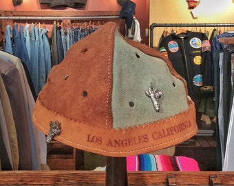 "Vintage Los Angeles California Leather ""Whoopee"" Cap w/ Charms. Size 6 5/8"