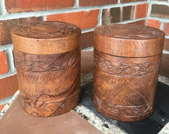 Pair Of Old Vintage Handcarved Teak Wood Jars Canisters Boxes L0316