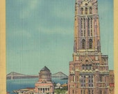 Antique 1949 Postcard of the Old Riverside Church and Grant's Tomb in New York's Upper Manhattan Neighborhood