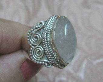 Rose Quartz Sterling Silver Ring Size 6
