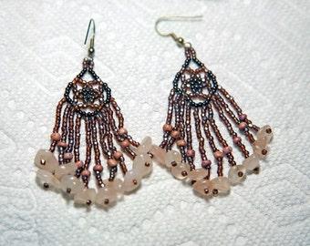 Beaded Rose Quartz earrings