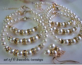 Bridesmaid jewelry, Ivory gold bracelet earrings set,  bridesmaid gifts. Set Of 6 Jewelry Sets, Pearl Jewelry, Beaded Jewelry,Wedding Party