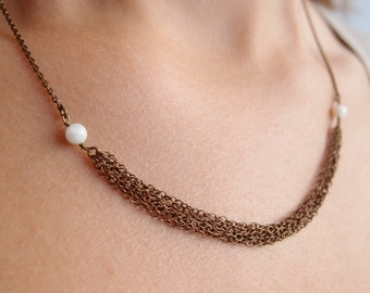 Necklace white pearls small chains in antique brass