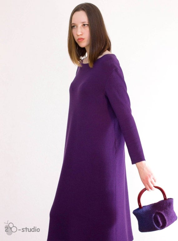 Plus Size knitting pattern Hand knitted dress Violet knit dress Over Size Swe...