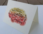 Brain Block Print, Original Brain Art card, anatomical Brain, anatomy, ALL Occasion card, anatomy print, doctor card, Biology, Psychologist