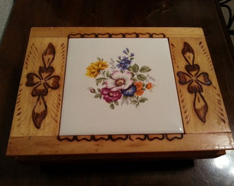 Wood Jewelry Box with Carved Design and Floral Tile on Lid