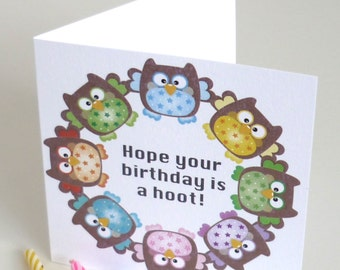 Birthday Card with Colourful Owl Design