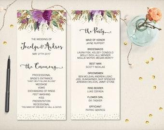 "Wedding Program Card, Elegant Purple Floral Program, Modern Gold Glitters Flowers, 4""x9"" Double Sided DIY Printable, FREE SHIPPING (P42)"