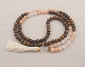 The CANCER Mala - Rose Quartz & Aventurine with Quartz Crystal / Robles Wood - White Tassel - Intuitive - Sympathetic - Item # 704