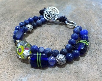 2 strand Sodalite Bracelet/Blue Yellow Silver/Gemstone Stacking Bracelet/Custom sizes/ made to order/Gift for her/@IndigoLayne