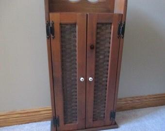 SALE Rare 1980s Longaberger wood cabinet basket weave 2 door wall cupboard shelves with original sales flyer