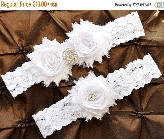 White Wedding Garter: SALE White Wedding Garter Bridal Garter Set By