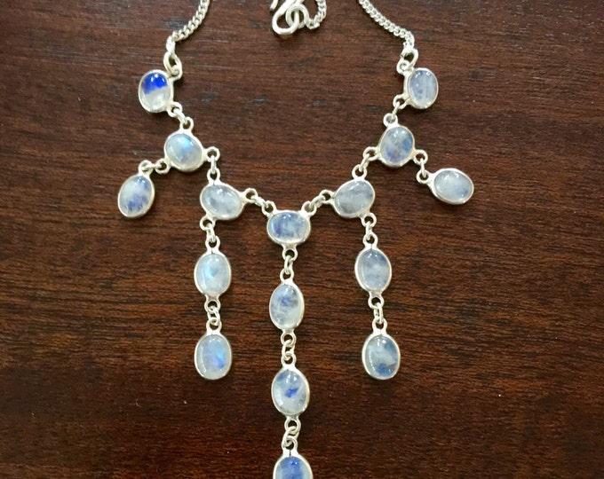 "Sterling Moonstone Necklace Festoon Bib Sterling Silver Vintage 16"" Chain"