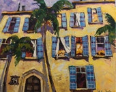 """Original oil painting The old building in Jaffa, Israel, 21.7"""" x 25.6"""", cityscape, ready to hang, fine art by Valiulina"""