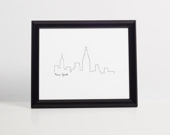 New York Skyline Art Print 8x10 Printable