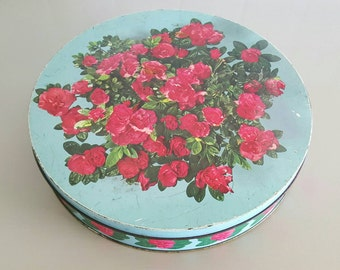 Red Roses Vintage Tin Blue Made in England