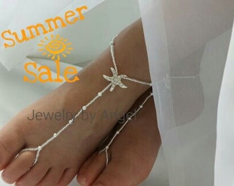 Baby Barefoot Sandal Silver Rhinestone Stardust Starfish Kids Foot Jewelry Flower Girl Beach Theme Sandals Children Jewelry