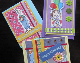 Set 4: Greeting Cards Set of 3 - Congratulations Cards, Birthday Cards, Blank Cards, hand-crafted