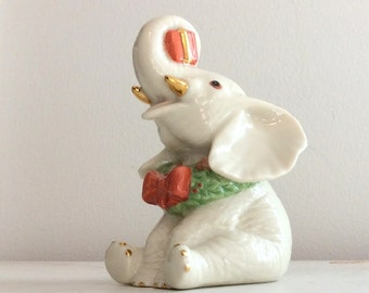 LENOX Christmas Elephant Figurine Ivory Fine China 24 Karat Gold Accents Red BowTie Green Scarf 1980's Lenox Collectibles