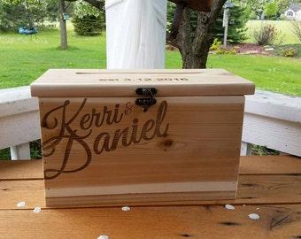 Rustic Card Box, Large Wedding Custom Card Box, wood box, Wedding, Anniversary, Graduation card box,  Card Box