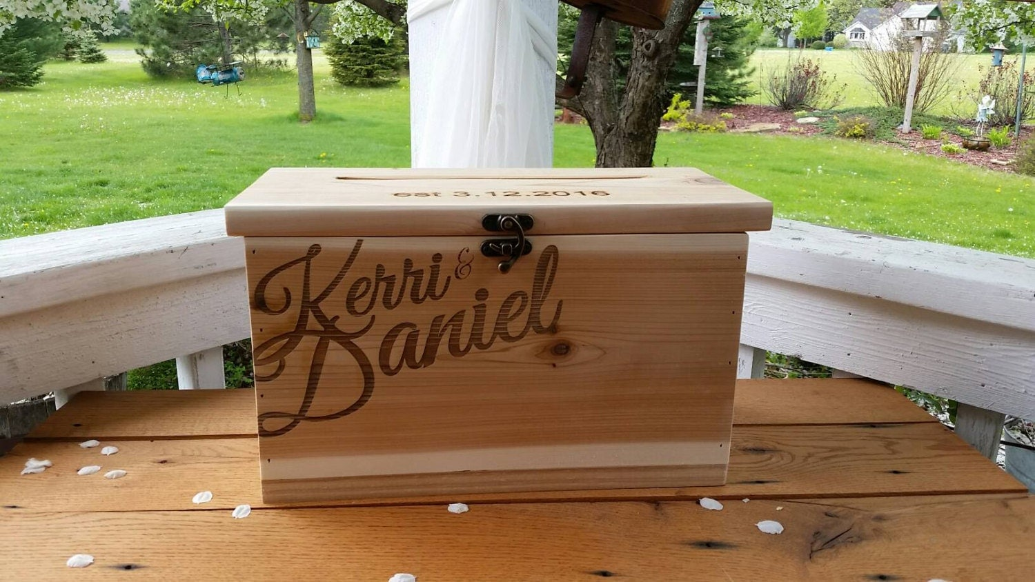 Rustic Card Box Large Wedding Custom Card Box wood box – Large Wedding Card Box