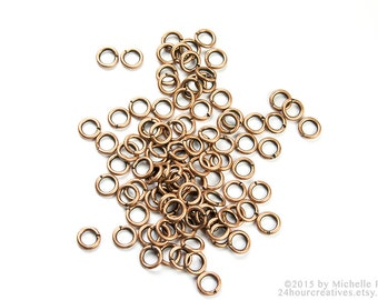 4mm Antique Copper Jump Rings - 4 mm 22 Gauge Copper Plated Brass - Open Jumprings - Pack of 100 Antique Copper Jump Rings - Ships from USA