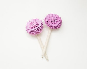 Flower Pens // Wedding Guestbook Pens in lilac and cream- fabric wrapped pens with paper flower - set of 2