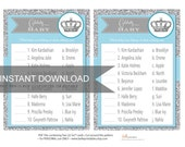 Celebrity Baby Names - Lighta Blue & Silver Glitter - Crown - PDF file - Ready to print - DIY Print Your Own