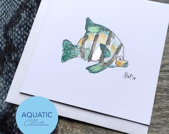 Teal Fish Art Card - Aquatic Collection (Greeting Card)