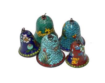 Set of 5 Cloisonne Bells - Mini Bells, Vintage