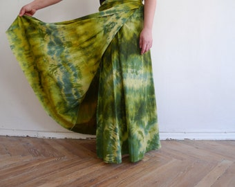 Handmade tie-dyed / Batik  green cotton maxi skirt