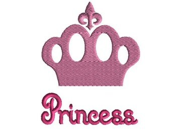 Princess Embroidery design, Princess Crown Embroidery  Design, 3 sizes, filled stitch, girl embroidery, princess design