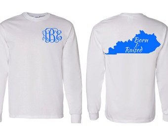 Monogram Born and Raised State Adult, Youth, Toddler Long Sleeve T-Shirt, Kentucky Monogram Shirt, Choose Your State