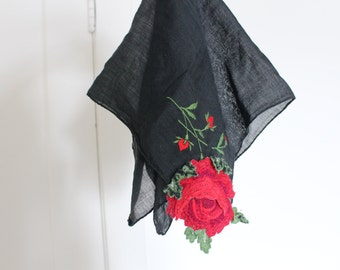 Vintage Black Cotton handkerchief hand embroidered with Red Rose Detail