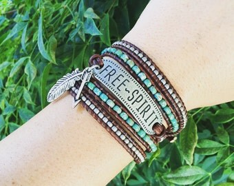 Free Spirit Wrap Bracelet, Multicolored Bracelet, Triple Wrap Bracelet, Bohemian Bracelet